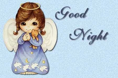 Cute Good Night Images with Moon and Cute Girl